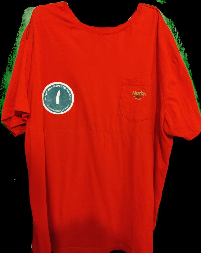 Majica Pisateljska pešpot po Sloveniji (neprosojen znak)